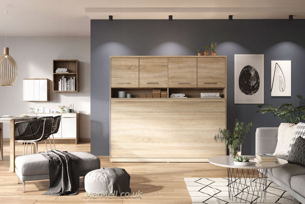 horizontal wall bed, murphy bed, folding bed, multifunctional bed with top cabinet, over bed unit