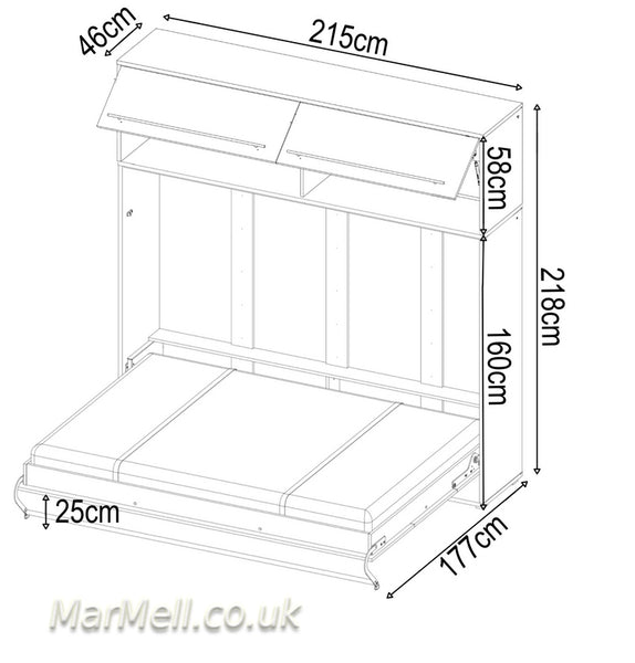 horizontal wall bed, murphy bed, hidden bed, space saving bed, folding bed, multifunctional bed with over bed unit