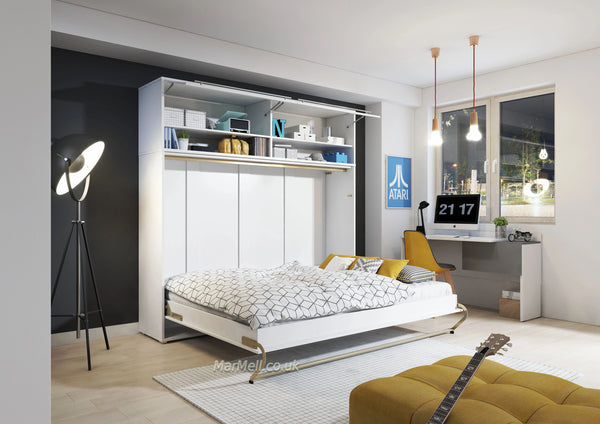 horizontal wall bed, murphy bed, hidden bed, space saving bed, folding bed, multifunctional bed with top cabinet, over bed unit
