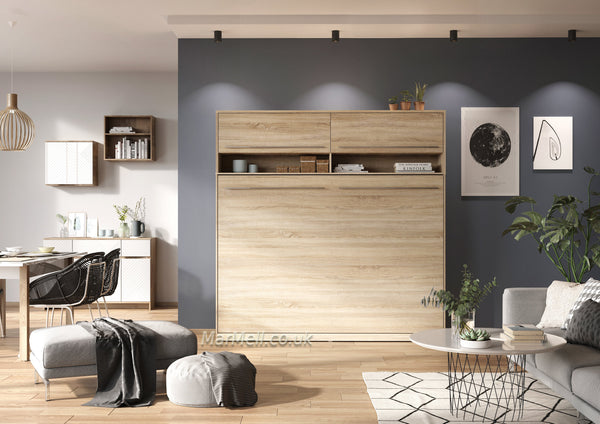 horizontal wall bed, murphy bed, space saving bed, folding bed, multifunctional bed with top cabinet, over bed unit