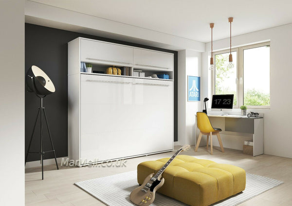 horizontal wall bed, murphy bed, space saving bed, folding bed, multifunctional bed with top cabinet, over bed unit, white gloss