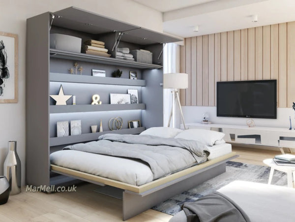 king size wall bed Murphy bed space saving bed with top cabinet over bed unit open marmell