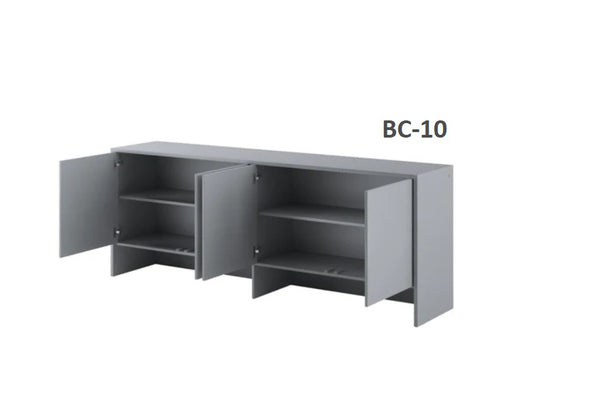 over bed unit for horizontal wall bed top cabinet grey open