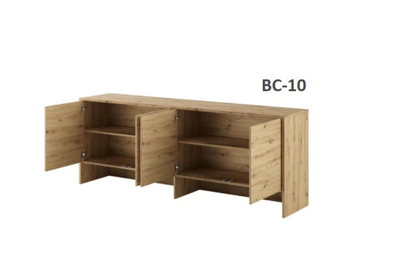 over bed unit for horizontal wall bed top cabinet open