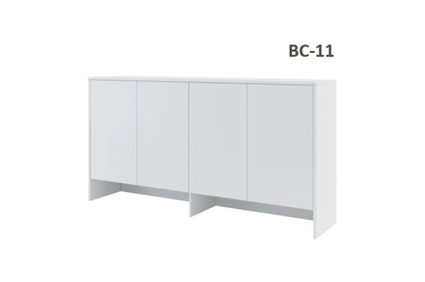 over bed unit for single wall bed Murphy bed top cabinet storage white marmell