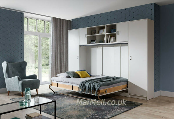 double horizontal wall bed with cabinets, white, fold - down Murphy Bed Space Saving Bed
