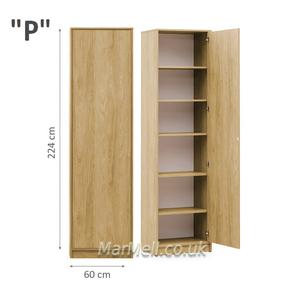 side cabinet wall unit storage with shelves oak for wall beds ST marmell