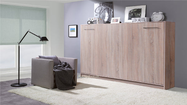 single horizontal wall bed fold away puling down space saving bed convertible bed folding hidden bed Murphy bed oak sonoma light marmell