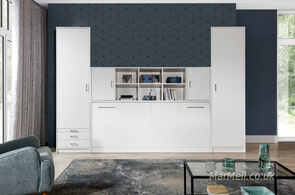 single horizontal wall bed, murphy bed, space saving bed, multifunctional bed, hidden bed, folding bed with cabinets