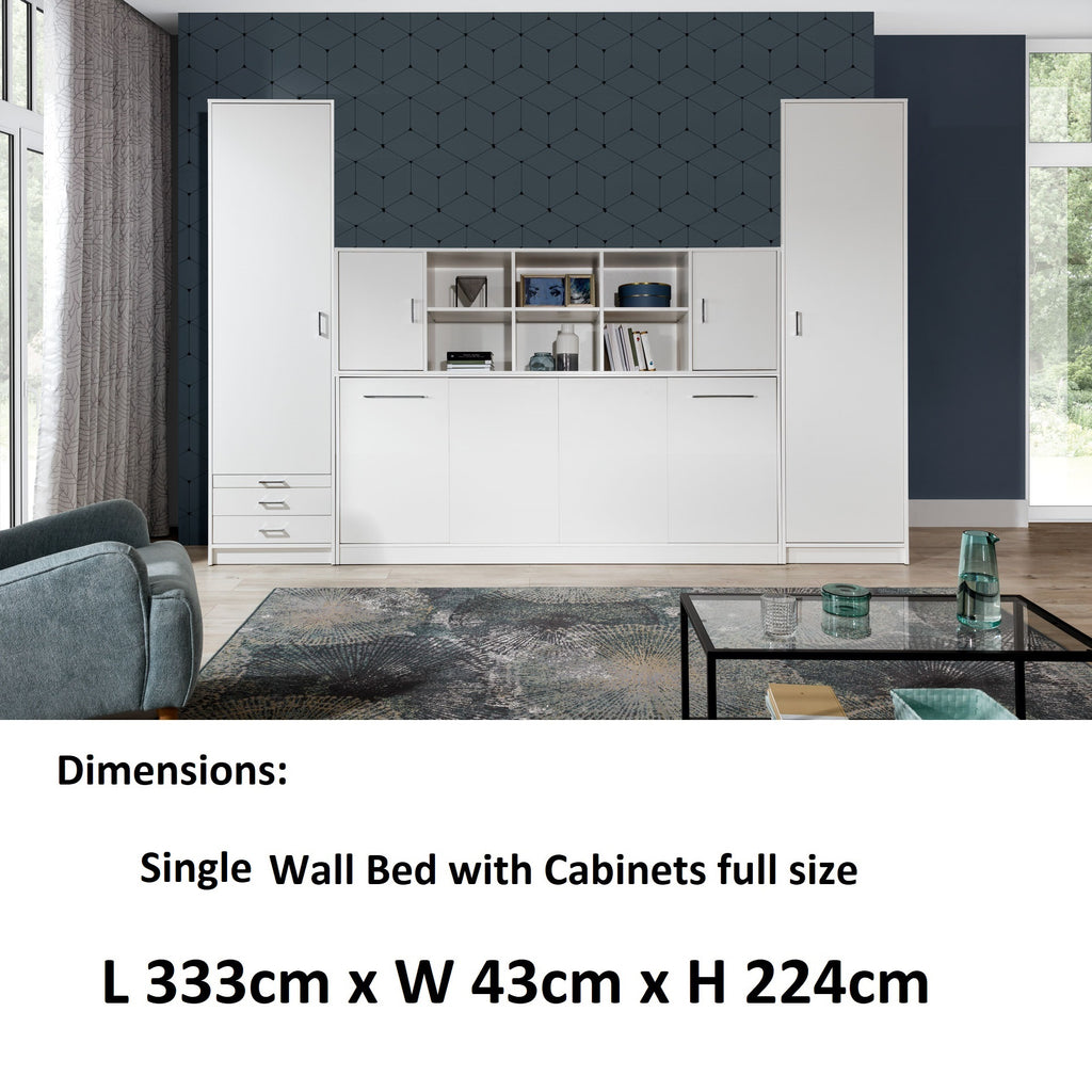 single horizontal wall bed with  cabinets, white