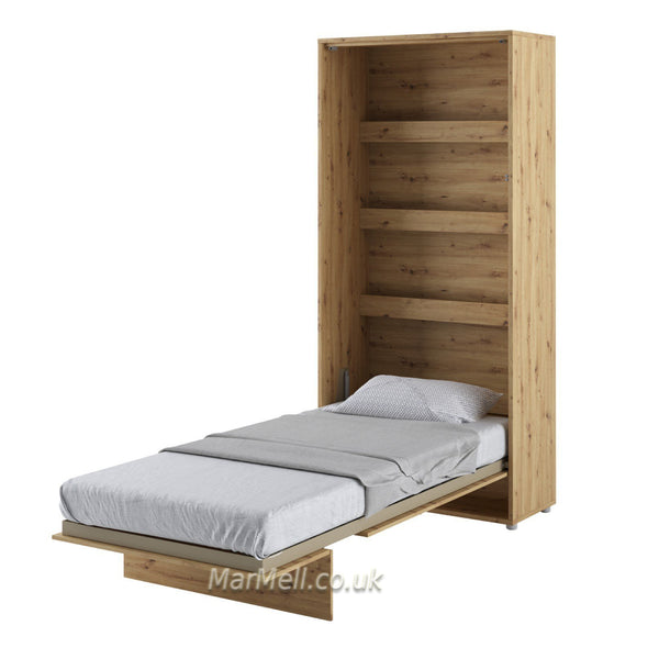 single vertical wall bed, hidden bed, Murphy bed,space seving bed, fold-down bed, oak