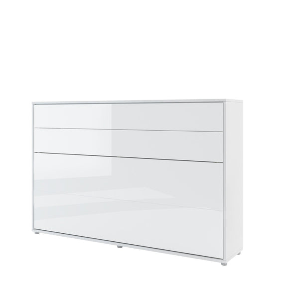 small double horizontal wall bed white gloss