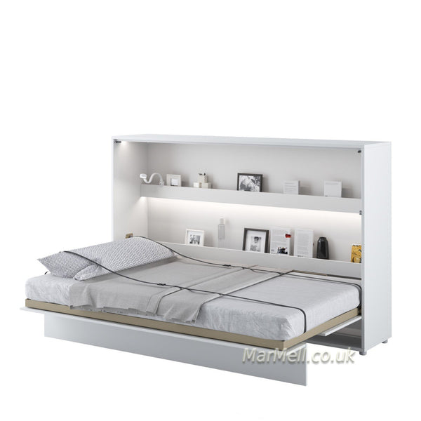 horizontal wall bed, space saving bed, hidden bed, folding bed