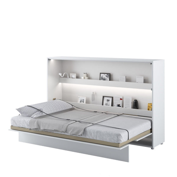 small double horizontal wall bed white open