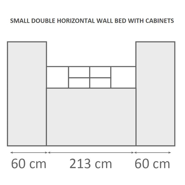 small double horizontal wall bed with cabinets Murphy bed space saving bed