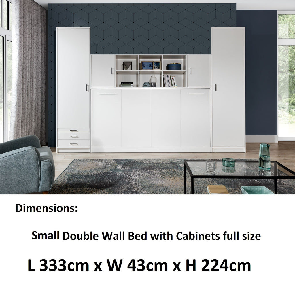 small double horizontal wall bed with  cabinets, white