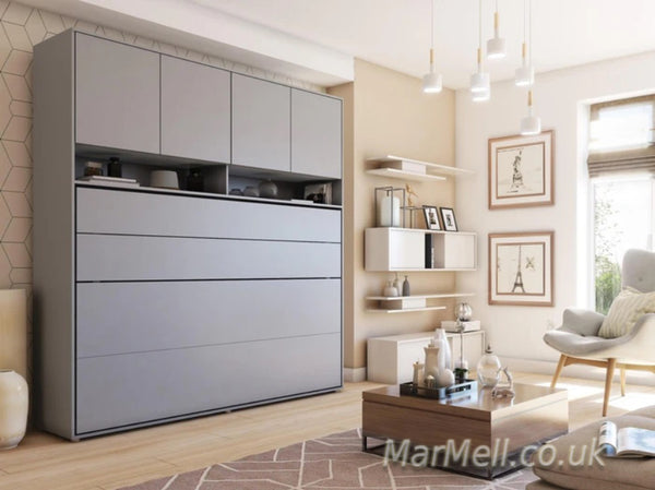 small double vertical wall bed Murphy bed folding down bed space saving bed with over bed unit top cabinet  kopia