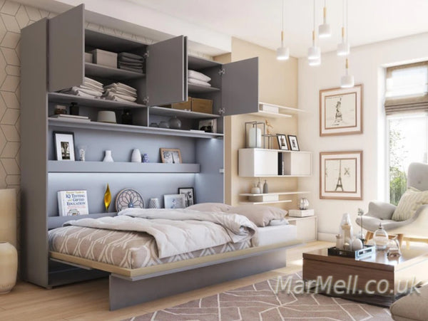 small double vertical wall bed Murphy bed folding down bed space saving bed with over bed unit top cabinet open