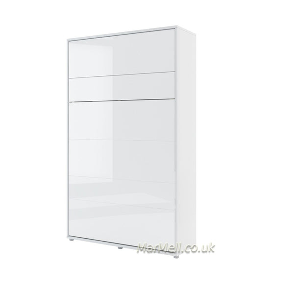 small double vertical wall bed white gloss