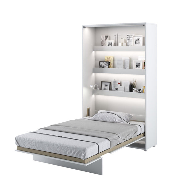 small double vertical wall bed white open