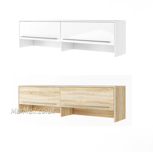 top cabinet, over bed unit for horizontal wall bed, murphy bed, space saving bed, hidden bed