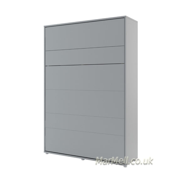 vertical wall bed, fold - down bed, Space Saving bed, Murphy Bed, hidden bed, grey