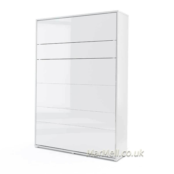 vertical wall bed, fold - down bed, Space Saving bed, Murphy Bed, hidden bed, white gloss