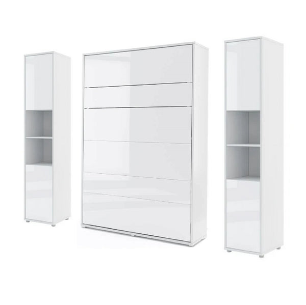 vertical double wall bed Murphy Bed folding multifunctional space saving bed with side cabinets white gloss