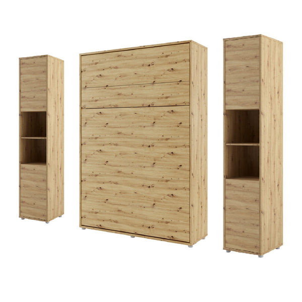 vertical double wall bed Murphy Bed folding space saving bed with side cabinets oak artisan