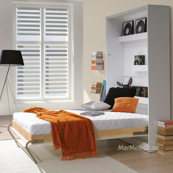 small double vertical wall bed, murphy bed, hidden bed, space saving bed, folding bed, multifunctional bed