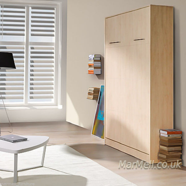 small double vertical wall bed, multifunctional bed, murphy bed, hidden bed, space saving bed, folding bed