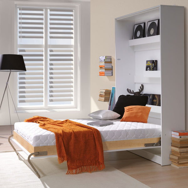 vertical double wall bed, Murphy bed, space saving bed, fold-down bed