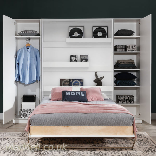 single vertical wall bed, folding bed, hidden bed, Murphy bed, space saving bed with cabinets