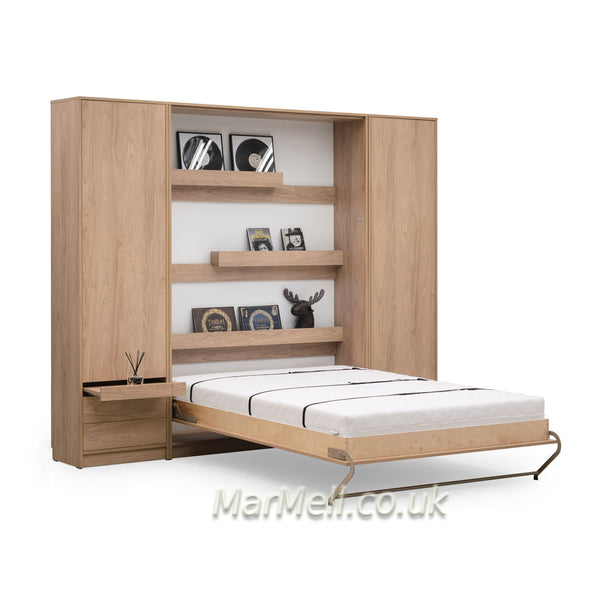 vertical double wall bed, Murphy bed, space saving bed, fold-down bed with cabinets