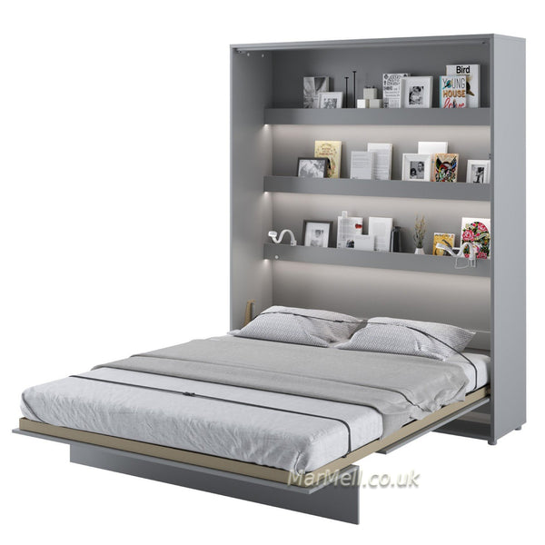 vertical king size wall bed Murphy bed space saving fold-down bed gray shelves