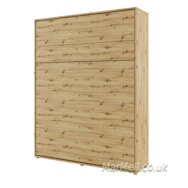 vertical king size wall bed Murphy bed space saving fold-down bed oak