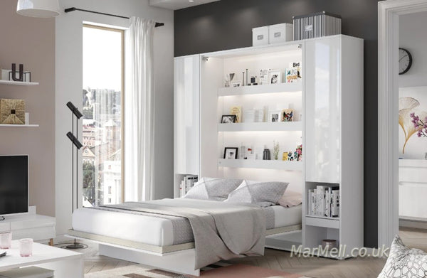 vertical wall bed, Murphy bed, folding bed, space saving bed, hidden bed