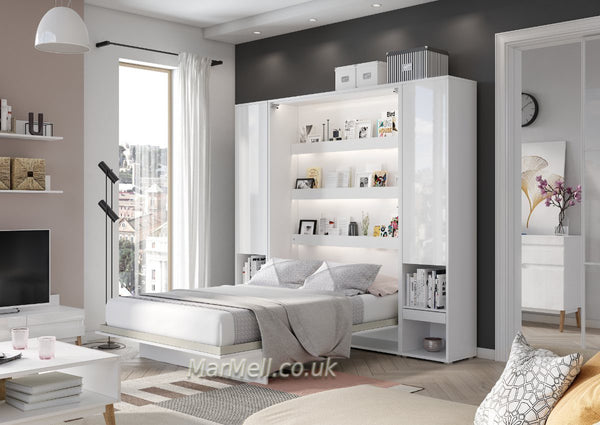 vertical wall bed fold away hidden bed with cabinets storage cupboards Murphy bed marmell