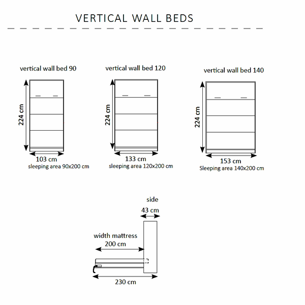 vertical wall beds-dimensions