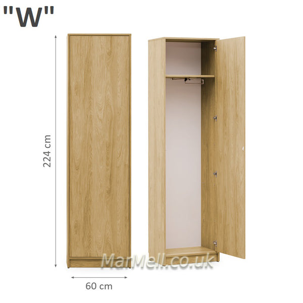 wardrobe cabinet with hanger and shelf for wall beds marmell oak