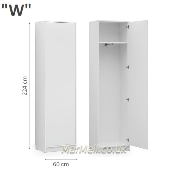 wardrobe cabinet with hanger and shelf for wall beds marmell white