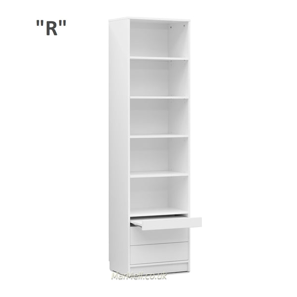 cabinet storage bookcase with shelves and a little table and drawers marmell  white