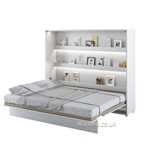 horizontal king size wall bed Murphy bed space saving Folding bed with shelves