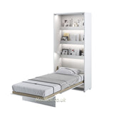 single vertical wall bed, multifunctional bed,, fold - downbed, Murphy bed, Space Saving Bed with light, hidden bed