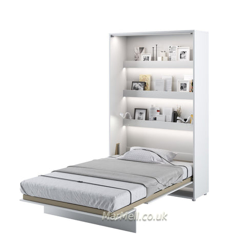 small double vertical wall bed white fold - down Murphy Space Saving Bed