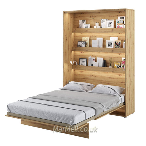 vertical wall bed oak artisan open Space Saving, Murphy Bed