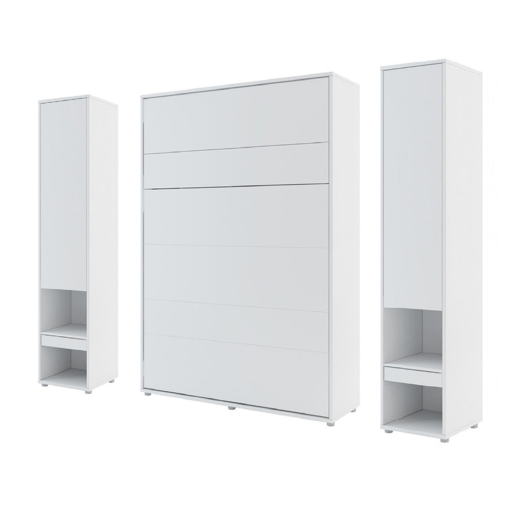 vertical double wall bed Murphy Bed folding multifunctional space saving bed with side cabinets white