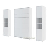 vertical small double wall bed Murphy Bed folding multifunctional space saving bed with side cabinets white