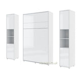 vertical small double wall bed Murphy Bed folding multifunctional space saving bed with side cabinets white gloss