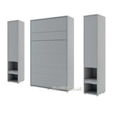 vertical small double wall bed Murphy Bed folding space saving bed with side cabinets grey
